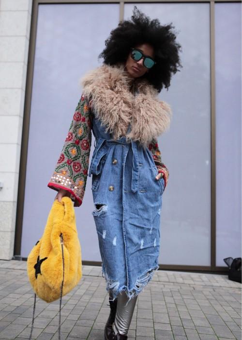 Boho Vintage Jeans Mantel beige