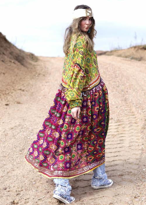 Boho Mantelkleid Babydoll Embroidery lime-braun