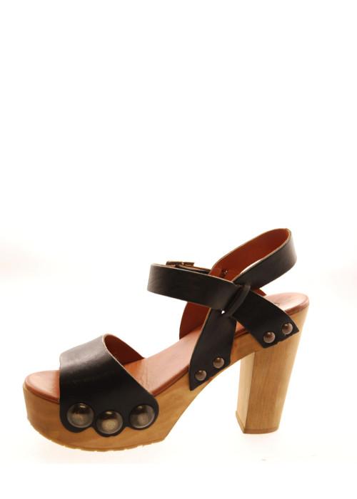 Plateau Clogs Sandalen schwarz