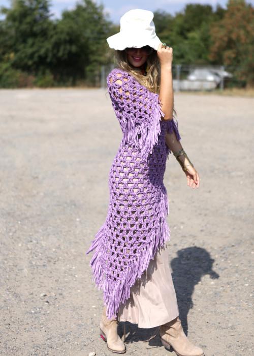 Boho Crochet Kleid flieder