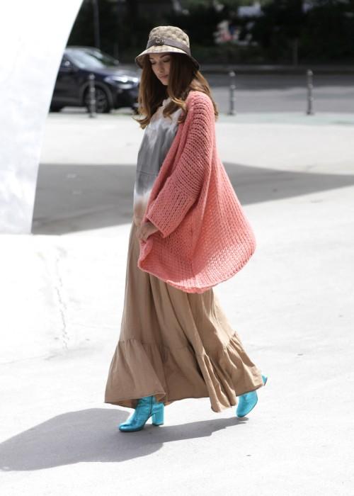 Boho Kapuzen Sweater Batik braun