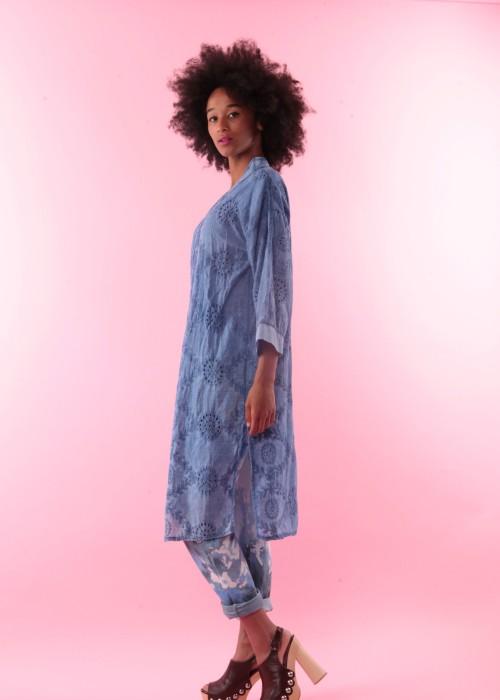 Boho Kimono Mantel Cotton Lace blau batik