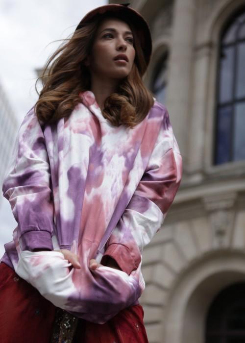 Boho Kapuzen Sweater Batik Pink