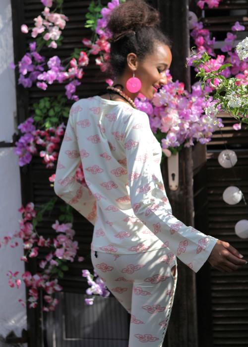 Langarmshirt V-Neck Cloud creme-pink