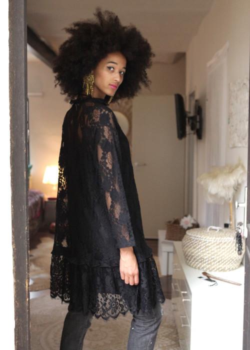 Tunika Kleid Lace schwarz