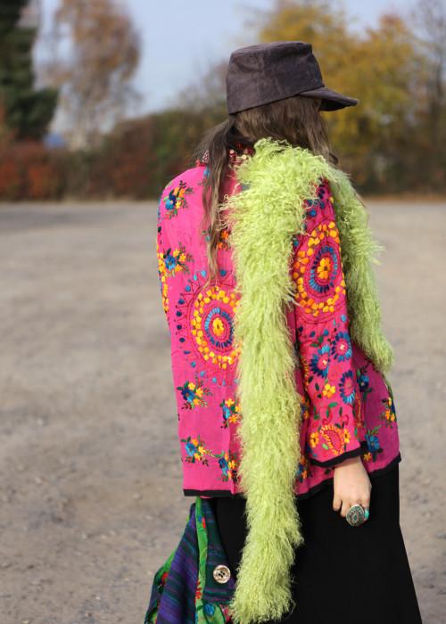 Boho Hemd-Jacke Embroidery pink