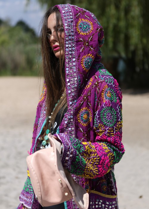 Boho Kimono Mantel Madhu Embroidery lila
