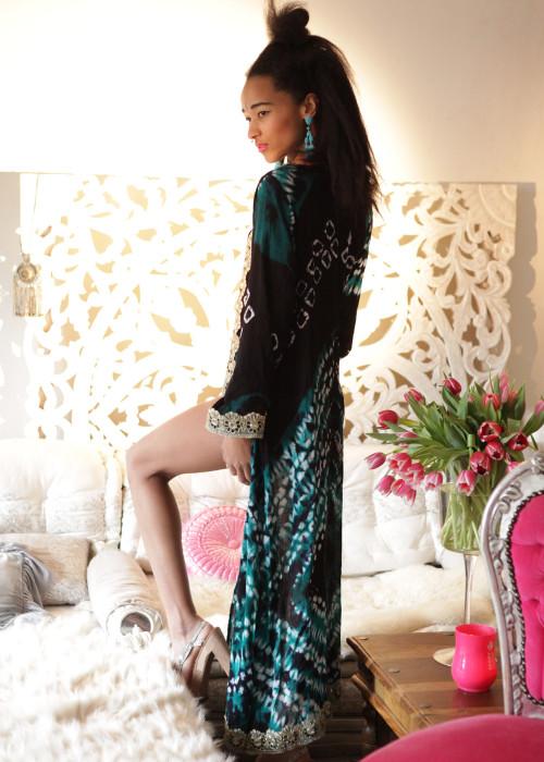 Boho Kimono Karma Batik Nr.5 schwarz-gruen