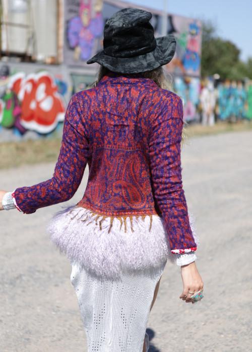 Boho Blazer mit Tibetlamm lila-flieder