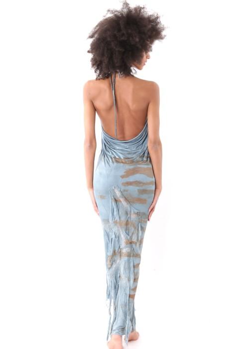 Neckholder-Maxikleid Organic Silk blau