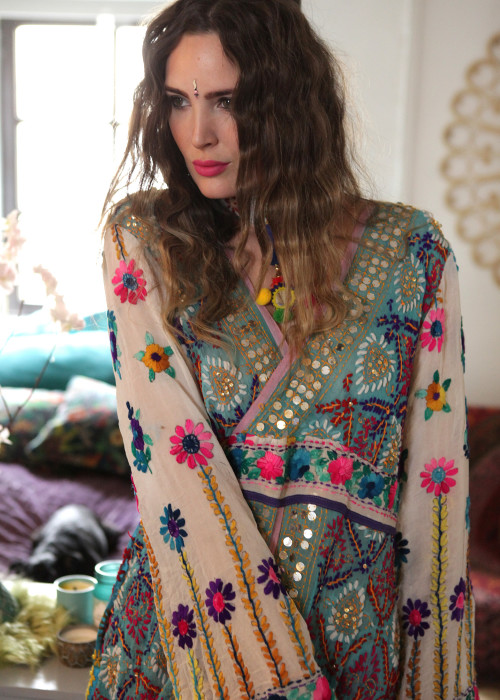 Boho Kleid Empire Embroidery hellblau