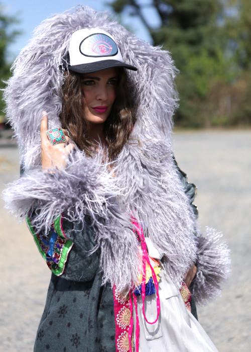 Boho Mantel mit Jeans-Kapuze und Tibetlamm grau