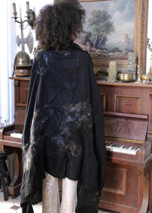 Oversize Stola Merino Wolle Black-Gold