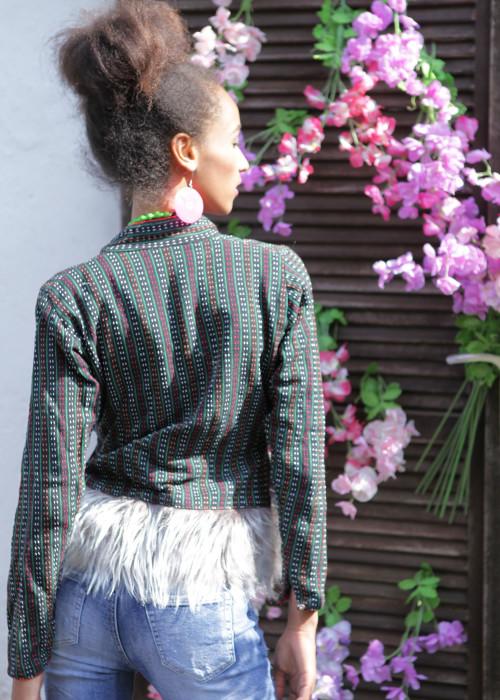 Boho Jacke mit Kunstfell multicolor-grau