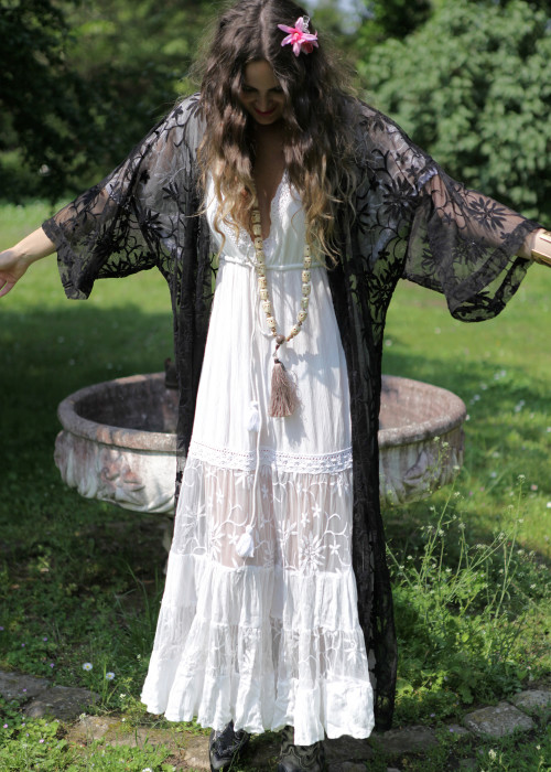 Boho Maxikleid Guadalupe weiss
