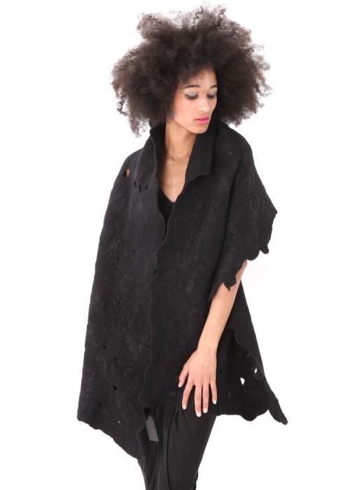 Stola Organic Silk Wool black