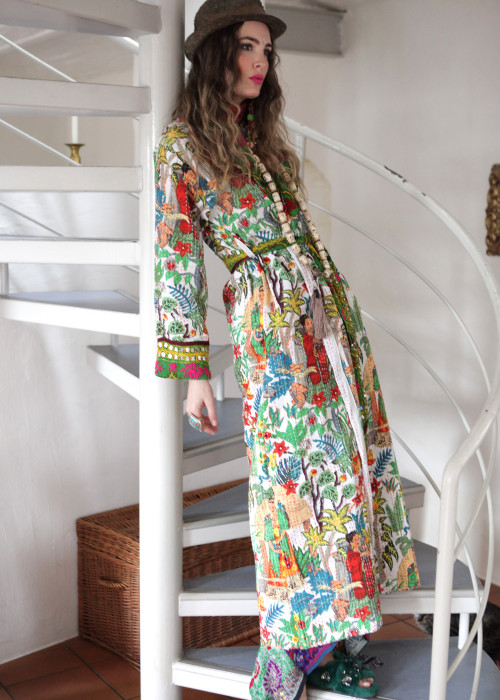 Boho Kimono Mantel Frida Kahlo weiss-gruen