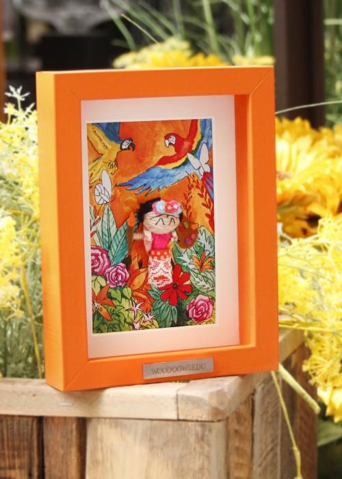 Boho Bild Rahmen Frida Kahlo orange