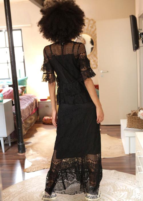 Maxikleid Lace Volants schwarz