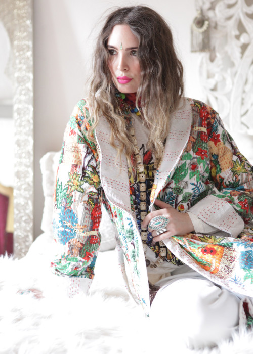 Boho Kimono Mantel Frida Kahlo weiss