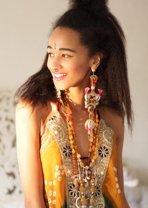 Boho Neckholderkleid Tanee Batik Nr.13 braun-gruen