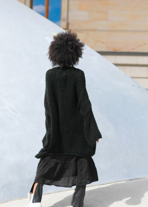 Boho Pullover XXL Oversize schwarz