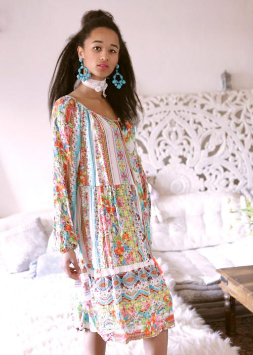 Boho Kleid Patchwork weiss-multicolor