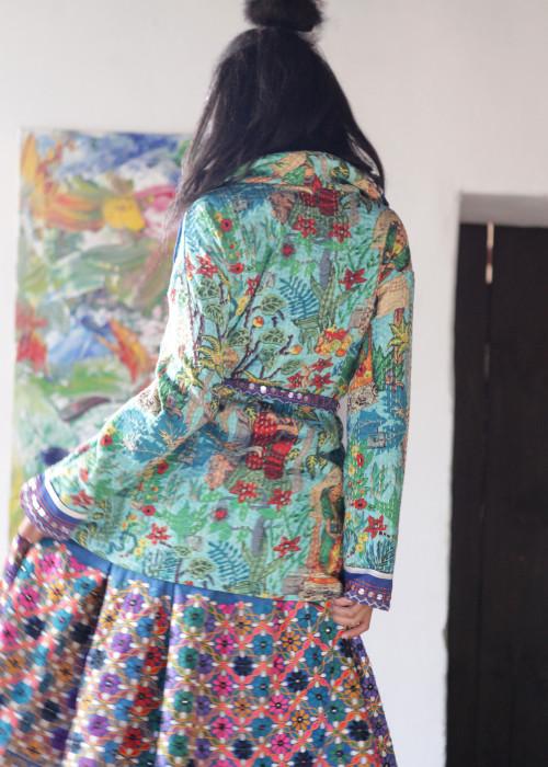 Boho Jacke Frida Kahlo blau