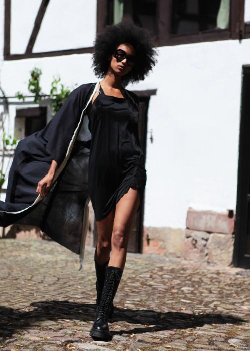 Kimono Mantel Organic Cotton schwarz