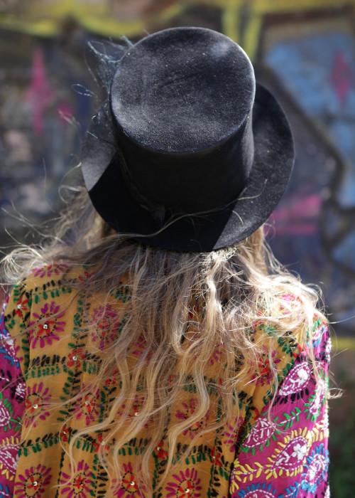 Festival Hut Zylinder Federn schwarz