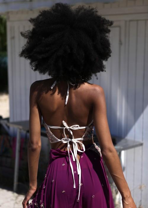 Boho Lingerie Top Sari weiss