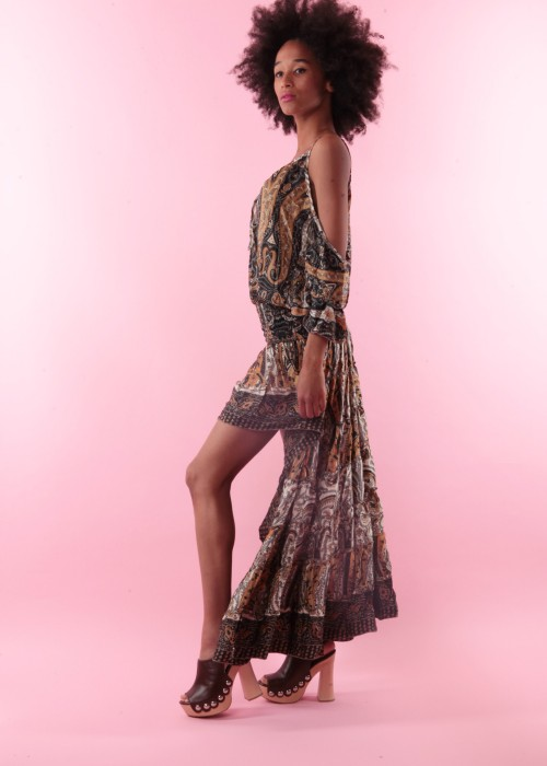 Boho Summer Dress Silk braun