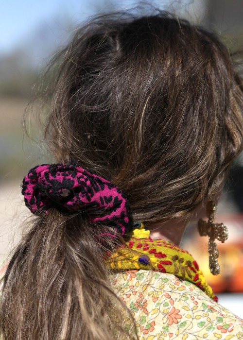 Boho Scrunchie Embroidery Flower Lila L