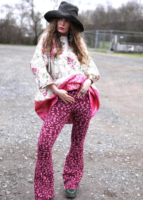 Yoga Hose Seventies leo pink