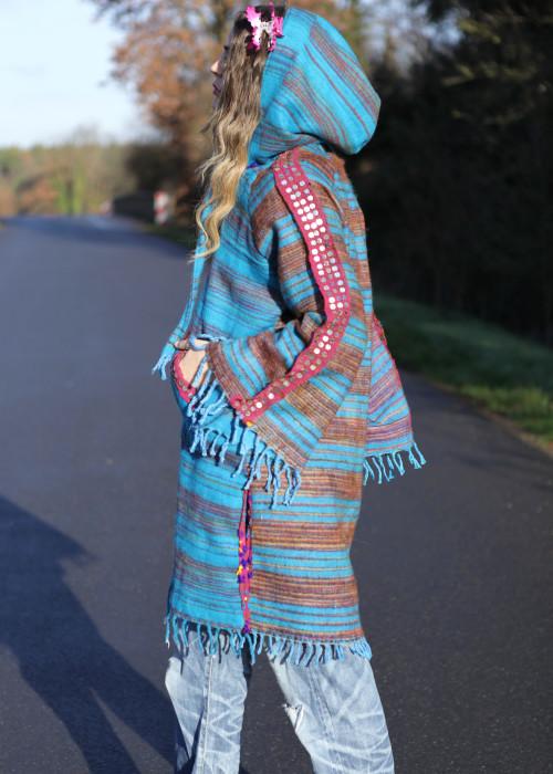 Boho Poncho mit Kapuze Stripes blau