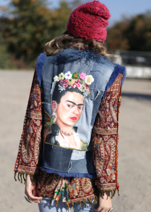 Bohemian Fellweste Patchw Denim Frida