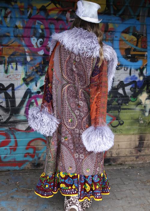 Boho Mantel mit Tibetlamm braun-grau