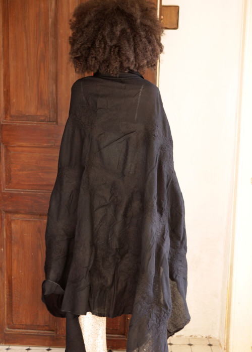 Oversize Stola Merino Wolle Black