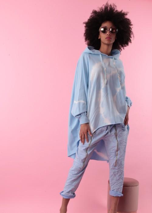 Boho Oversize XXL Sweater Batik blau