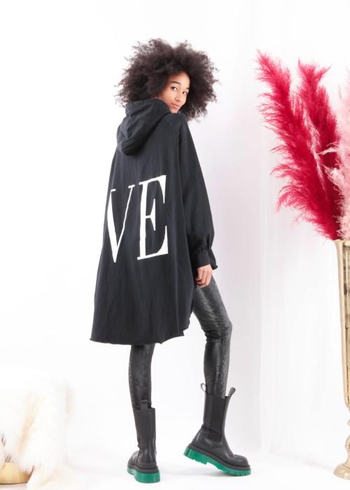 Boho Oversize XXL Sweater LOVE schwarz