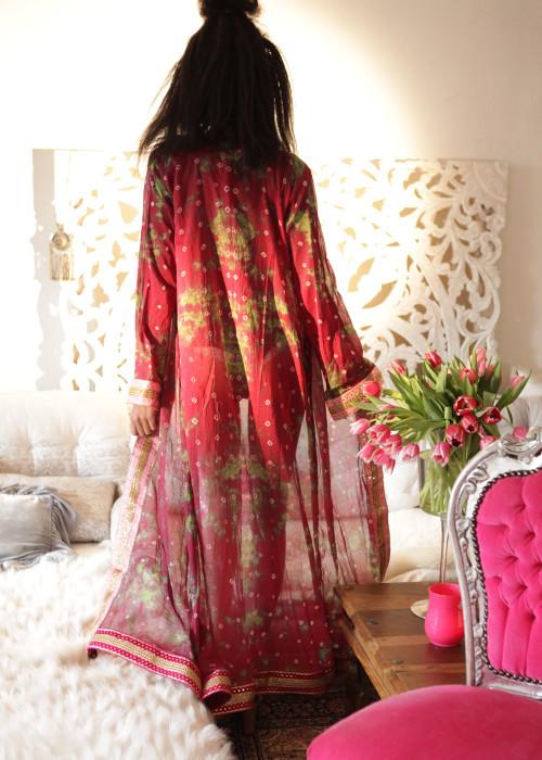 Boho Kimono Karma Batik Nr.1 weinrot-gruen-rosa