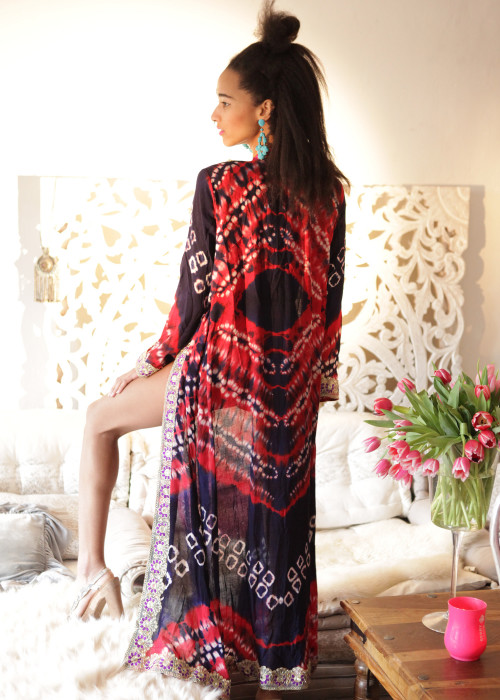 Boho Kimono Karma Batik Nr.4 blau-rot