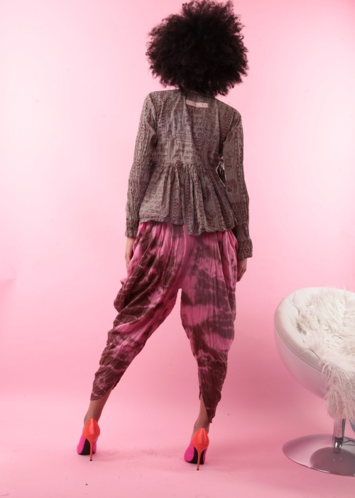 Bohemian Harems Hose Batik pink-braun