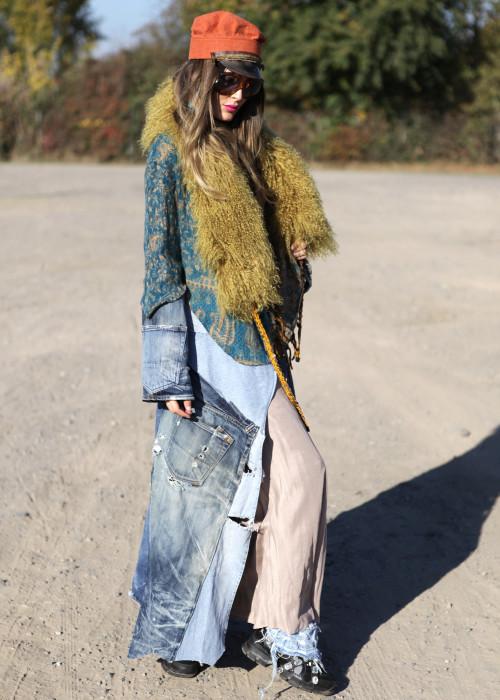 Boho Mantel mit Tibetlamm Stola Jeans Vintage
