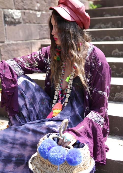 Boho Monoanzug Jumpsuit Seide Batik lila