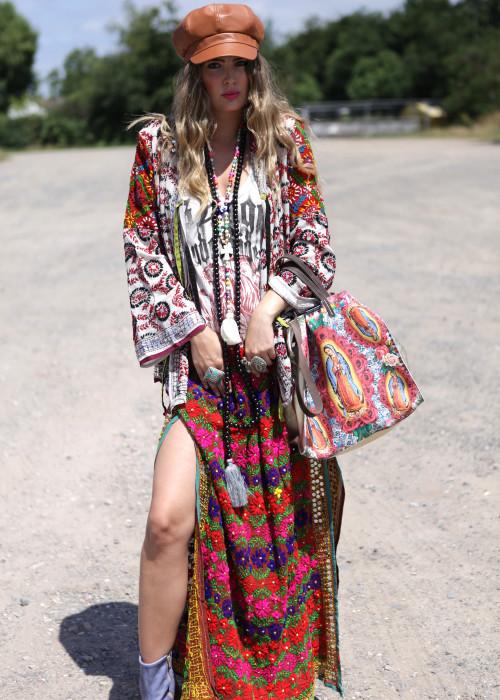Boho Hemd-Jacke Embroidery weiss