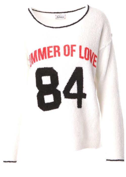 Pullover Summer of Love weiss