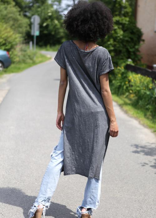 Oversize Longshirt Rock`N Roll grau