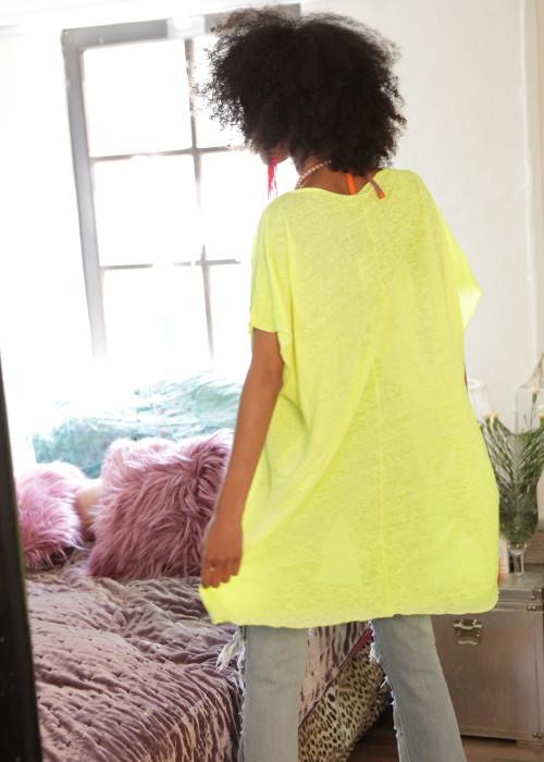 Oversize Shirt Leinen Punk neon-gelb
