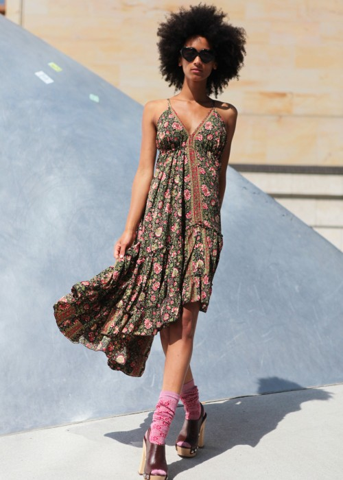 Boho Silk Kleid Braun-schwarz